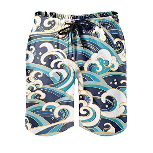 Dessionop Pantalones cortos de playa para hombre, estilo vintage, japoneses, con forro de bolsillo, color blanco, talla 6XL