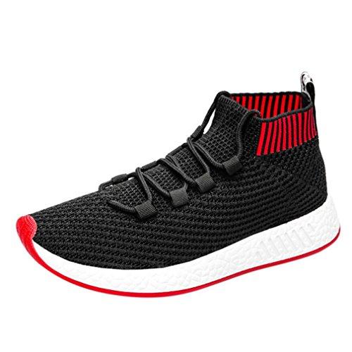 Chenang Herren Swift Racer Gymnastikschuhe Herren Md Runner Low-Top Sneaker Fliegende Linie gewebt High-Top-Soft-Laufschuhe Turnschuhe Socken Schuhe (43 EU, rot)
