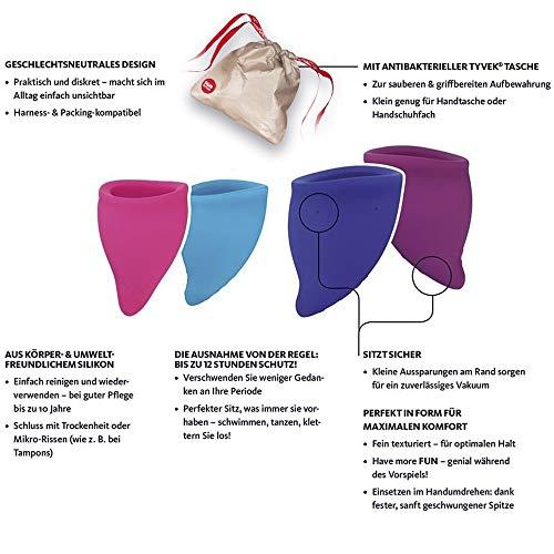 FUN FACTORY FUN CUP SIZE A – Zwei Menstruationstassen inkl. Tasche Silikon ( Rosa/Türkis ) - 2