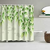 MZW Plantas Tropicales Cortina de Ducha Hojas Cortinas de baño para baño BañeraGrande Anchas 12pcs Ganchos Impermeable, YZ6, W150xH180cm
