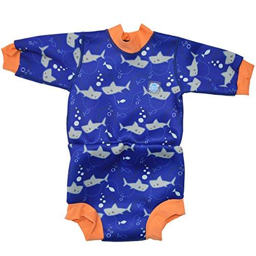 Splash About Happy Nappy - Traje de neopreno para niños, color Naranja (tiburones), talla 12-24 meses/XL