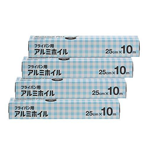 [Amazon限定ブランド]Kuras フライパン用アルミホイル 25cm×10m ×4本セット【まとめ買い】