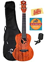 Luna Malu Maluhia (Peace) Mahogany Concert Acoustic-Electric Ukulele Bundle with Gig Bag, Tuner, Austin Bazaar Instructional DVD, and Polishing Cloth
