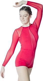 c23c6dff3a21 HDW DANCE Women's Dance Biketard Long Sleeve Mesh V Front Jazz Gymnastics  Bodysuit