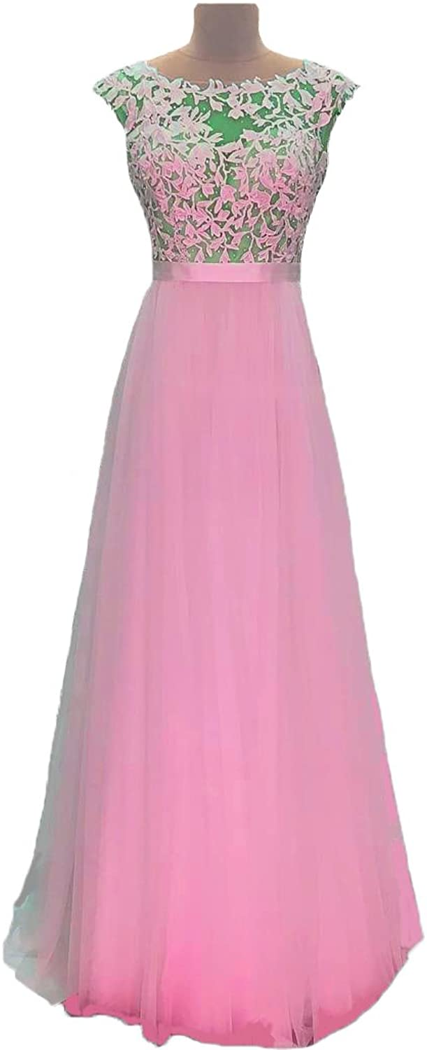 FTBY Women's Sleeveless Applique Tulle Long Prom Dress Bridesmaid Dress Evening Gowns