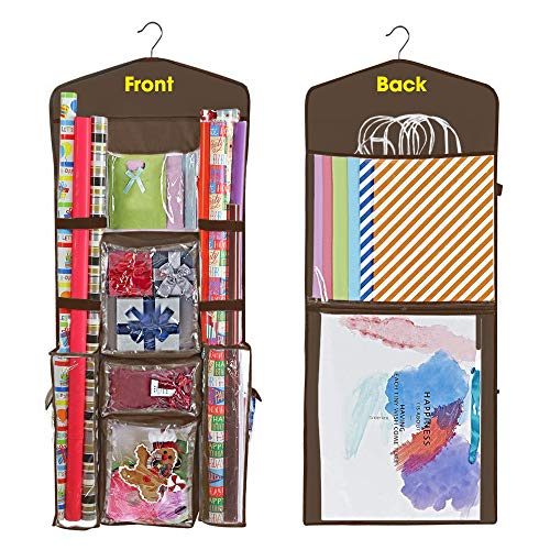 ProPik Hanging Double Sided Christmas Gift Wrapping Paper Storage Organizer With Multiple Pockets Organize Your Gift Wrap, Gift Bags Bows Ribbons 40'X17' Fits 40 Inch Rolls Clear PVC Bag (Grey)