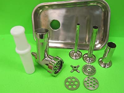 The Original Stainless Steel meat grinder attachment for Kitchenaid. Includes sausage stuffer kit