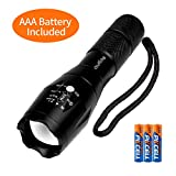 outlite A100 Portable 2000 Lumens Handheld LED Flashlight with Adjustable Focus and 5 Light Modes, Outdoor Water Resistant Flashlights...