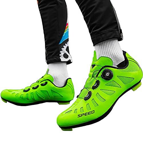 KUXUAN Zapatillas de Ciclismo de Carretera para Hombre Zapatillas de Spinning con Zapatilla Peloton de Cala Compatible con Zapatillas de Bicicleta SPD y Delta Lock,Green-44EU