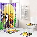 Sizet Conjuntos de Cortinas de Ducha Halloween Pumpkin-Element, con alfombras Antideslizantes, Alfombrilla de baño y Tapa de Inodoro Cortinas de Ducha con 12 Ganchos