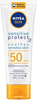 NIVEA SUN Sensitive Protect Moisturising 4 Hour Water Resistant Fragrance-Free Sunscreen Lotion. Made in Australia with Al...