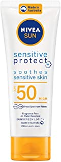NIVEA SUN Sensitive Protect Moisturising 4 Hour Water Resistant Fragrance-Free Sunscreen Lotion. Made in Australia with Aloe Vera & Chamomile, SPF50, 100 ml