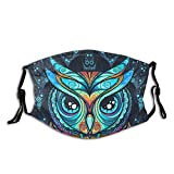 Anti Dust Adult Face Cover Owl with Tribal Ornament Fabric Cotton Mouth Cover Washable Cloth Sportmaske for Men Women Cycling Camping Travel