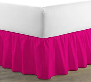 RRlinen Luxurious Adjustable Wrap Around Bed Skirt 100% Egyptian Cotton 800 Thread Count 12 Inch Drop Solid (Twin XL) Hot Pink