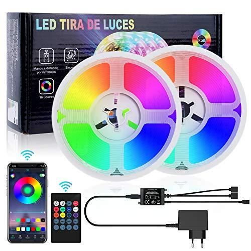 Brthspob 10M Bluetooth Tiras LED Musical 5050 RGB,Tira de Luz LED de 10m con IR Control Remoto, Tiras de Led Flexibles para Decoración de Fiestas de Cocina de Sala [eficiencia energética A+++]