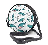 BAODANLA Bolso redondo mujer Round Crossbody Bag Lovely Shark Handbag Purse Single Shoulder Bag Sling Bag