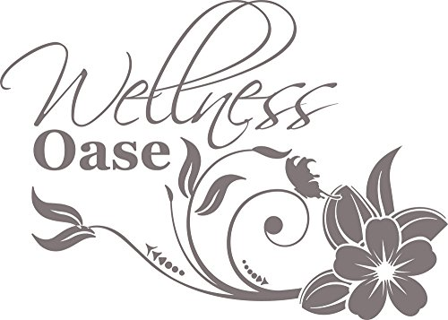 GRAZDesign Wasserfeste Aufkleber Wellness Oase mit Blume - Badtattoo für Wand im Badewannen-Bereich - Badezimmer Wandtattoos Dusche / 70x50cm / 650254_50_090