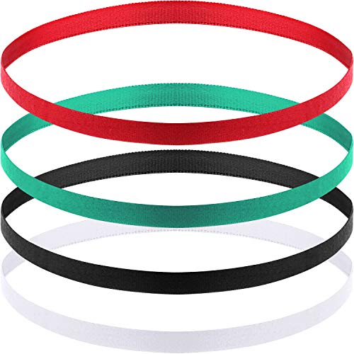 4 Pieces Thick Non-Slip Elastic Sport Headbands Hair Headbands for Women and Men (Black, Grey)