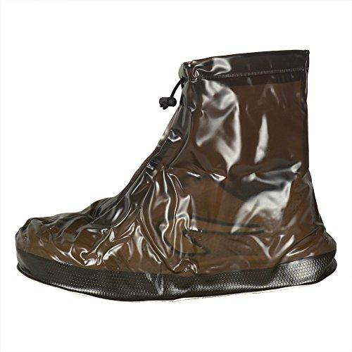 Couvre-Chaussures Réutilisable Imperméables Contre Pluie Neige Antidérapante pour Hommes Femmes Garçons Filles M café
