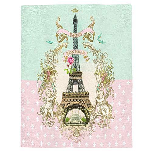 LIFUQING Bonjour Paris Manta Suave y cálida Manta de Microfibra Manta de Franela Cama manta-150x200CM