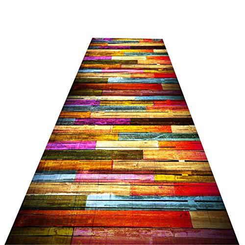 XQKXHZ Läufer Teppiche, Buntes Flickenteppich-Läufer des Patchwork-Hölzernen Korn-Korridor-Treppen-Langen Weichen Rutschfesten Flurs Für Küchen-Hotel-Konferenzzimmer,80x300cm