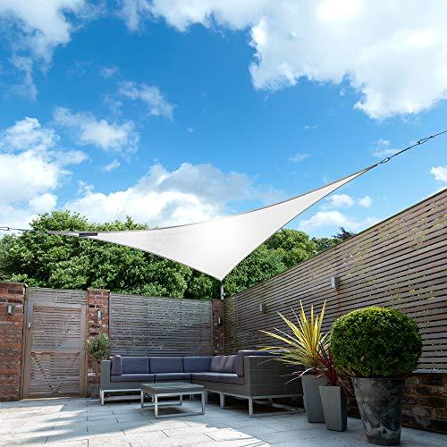 Kookaburra Wasserfest Sonnensegel Polarweiß Wasserabweisend Imprägniert Wetterschutz 98% UV Schutz für Garten Terrasse und Balkon (5,0m Dreieck)