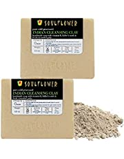 Cleansing Clay Handmade Soap with Coconut Oil, (5.3Oz x 2 bars) Natural, Organic, Vegan & Cold processed, Soft and Radiant for Oily Skin, Indian Formulation