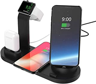 Charging Station with iPhone/Micro-USB/Type-C Connector for Mobile Phones, Apple Watch 5/4/3/2/1, Airpods,10W Wireless Charger for iPhone 11 Pro,Samsung S10,Airpods Pro,Galaxy Buds (No AC Adapter)