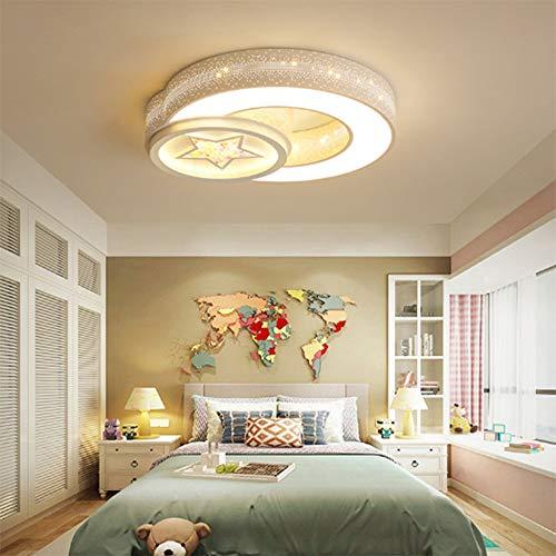 Lámpara de techo Lámpara creativa personalidad estrellas luna simple moderna led lámpara de techo hogar estudio cálido dormitorio sala de niños lámpara de techo control remoto regulación continua (54