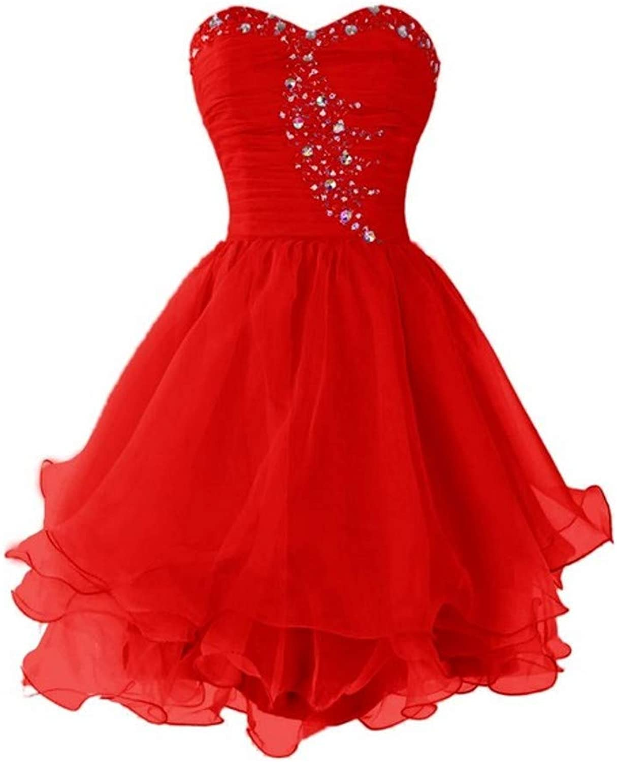 Darcy74Dulles Women's Beaded Sweetheart Short Homecoming Dress 2019 Tulle Strapless Prom Graduation Dresses