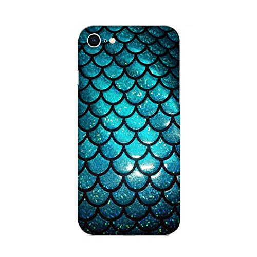 Funda iPhone 6 Carcasa Compatible con Apple iPhone 6 Cola de Sirena Escamas de Color Verde Oscuro/TPU Suave Gel de Silicona/Teléfono Hard Snap en Antideslizante Antideslizante Anti-rasguño resis