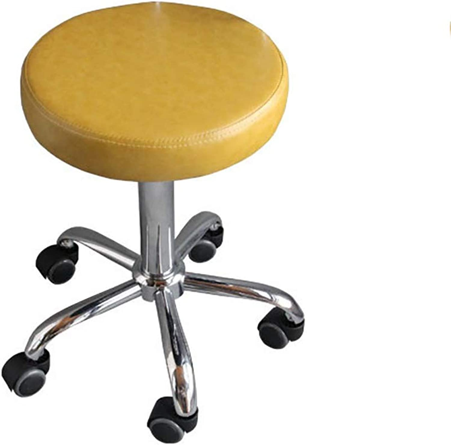 Beauty Stool, Makeup Stool, Hydraulic Pulley Stool, Work Bench, Sipi Fabric PU Wheel Silent redation Tattoo Spa Salon Small Work Stool (color   Yellow)