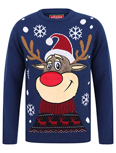 Rudolph The Reindeer Crew Neck LED Light Christmas Jumper In Sapphire - Merry Christmas-M
