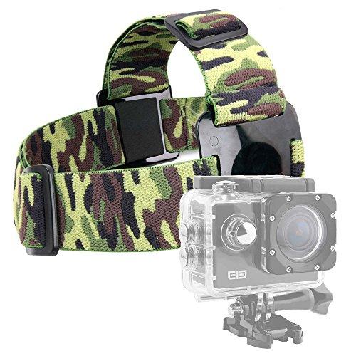DURAGADGET Fascia Testa Elastica Militare per Action Camera SmilyDirect | Sodao WiFi | Theoutlettablet | TopElek | Uvistar | Zenoplige 4K | ieGeek - con Adattatore