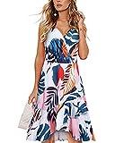 STYLEWORD Womens Dress Sexy V Neck Spaghetti Strap Cotton Floral Sleeveless Ruffle Beach Sundress(Floral04,XL)