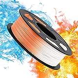 【Excelente Cambio de Color】El filamento de PLA color changing cambiará de color de naranja a blanco desde que la temperatura alcance los 33℃(91.4℉) o más. Los efectos térmicos cambian obviamente y rápidamente. 【Diámetro Estable 1,75mm】El filamento PL...