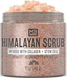 M3 Naturals Himalayan Salt Scrub Infused with Collagen and Stem Cell Natural Exfoliating Body Souffle Face for Acne Cellulite Dead Skin Scars Wrinkles Cleansing Exfoliator 12 oz