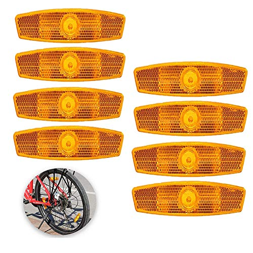 HPiano 8pcs Luces Reflectantes de Advertencia Reflectantes para Rueda de Bicicleta Adultos Reflector radios Reflectores Reflex para Radios de Rueda Bicicleta Naranja Advertencia Segura