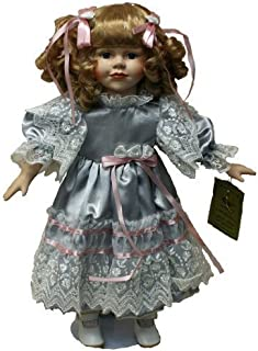 Standing Porcelain 18 Inches Doll with Curly Blond Hair and Blue Satin Dress with Lace Edging and Pink Ribbons