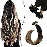 Ugeat 16 Pouce Remy Hair Extension a Chaud 1G 50S U Tip Extensions Keratine Cheveux Naturels Noir a Brun Fonce et Blond Caramel #1B/4/27