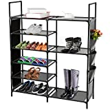 DazHom 6-Tier Shoe Rack, Non-Woven Fabric Shoe Storage Organizer, Stackable Shoe Tower Shoe Rack, Closet Portable Boot Organizer Shoe Racks Space Saving, Metal Durable Shelves Holds 20-25 Pairs, Black
