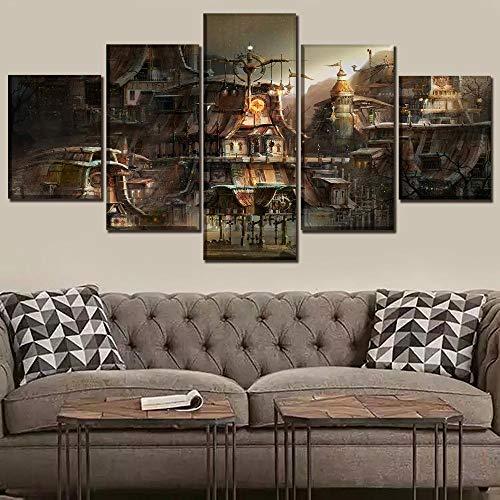 CJWLH 5 Stücke Leinwand Gemälde Panel Home Dekorative Modulare Panel Gebäude Stadt Sci Fi Steampunk Poster Moderne Wandkunst Bild-12x16in 12x24in 12x32in