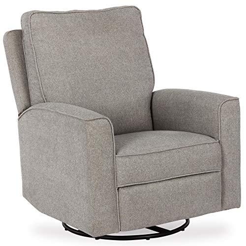 Baby Relax Jasmin Swivel Glider Recliner Chair, Pewter Gray Chenille