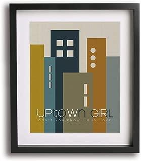 Uptown Girl by Billy Joel inspired song lyric art print, mid-century modern music poster