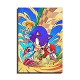 Pster de Sonic The Hedgehog en lienzo y arte de pared con impresin moderna para la decoracin de dormitorio familiar, Sin marco, 20x28inch