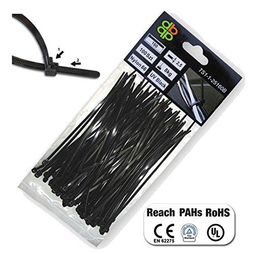 Bradas professionnel Lot de 100 serre-câbles, résistant aux UV,, 37x0,76x0,1 cm, noir, 100
