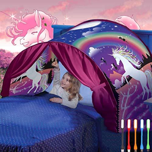 Nifogo Tiendas Carpa de Ensueño Bed Tent Magical World Carpa Impermeable Ensueño Wizard Children Play Cama Tienda Campaña (A- Unicornio)