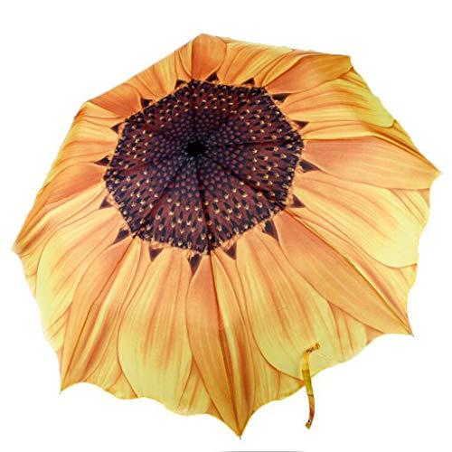 Sonnenblume Regenschirm Sonnenschirm UV Schutz Gelber Groß Taschenschirm Blumen Form Kreativer Reiseschirm für Auto Tragbarer Schirm für Kinder Damen Frauen Studenten Leicht Windfest Durchmesser 98cm