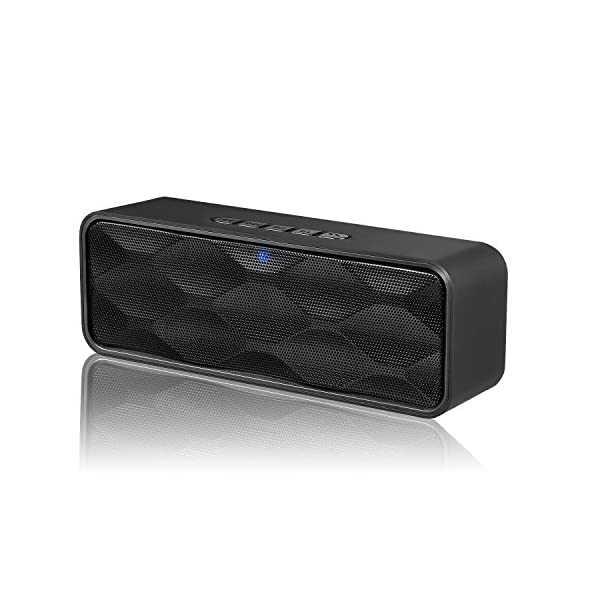 Wireless Bluetooth Speaker, Outdoor Portable Stereo Speaker with HD Audio and Enhanced Bass, Built-in Dual Driver Speakerphone, Bluetooth 4.2, Handsfree Calling, TF Card Slot - Black 3