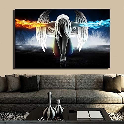 wjwang Vlies Leinwandbild Anime Angel Girl Wings EIS Und Feuer Poster Und Digital Gedruckte Wandkunst Bild Für Wohnzimmer Home Decoration Geschenk Rahmenlos 70X100Cm Rahmenlos Pc935